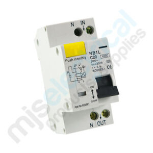 RCD / MCB Safety Switch 2 Pole 10A 16A 20A Switchboard