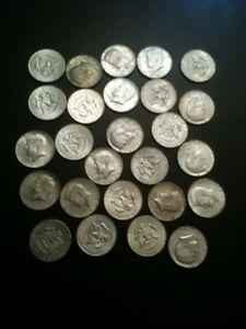 40-Silver-Kennedy-Half-Dollar-50-Cent-1965-1969-frm-Roll-P-D-Quarter-AU-UNC-BU