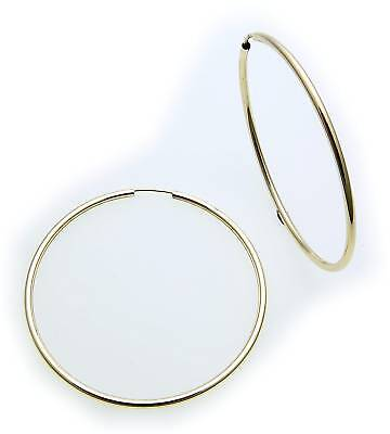 Hoop Earrings Big Gold 333 Shiny 50 Mm Pipe Shape Yellow Gold 8kt Unisex Quality