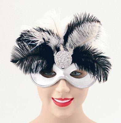 Abile Nuovo Black & Silver Piuma Party Opera Carnevale Domino Masquerade P1608-mostra Il Titolo Originale