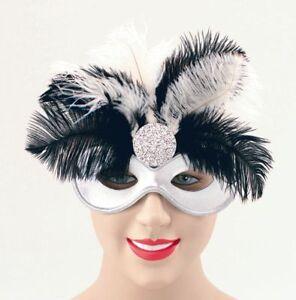 NUOVO Black /& Silver Piuma Party Opera Carnevale Domino Masquerade P1608