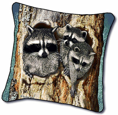 18 Raccoon Wildlife Nature Tapestry Cushion Pillow