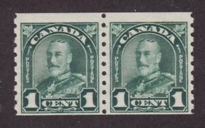 Canada Sc 179 MNH. 1931 1c dark green KGV Coil Pair