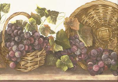 Grapes In Wicker Baskets & Ivy Wallpaper Border Wall