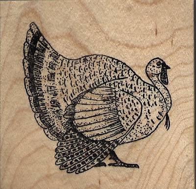 NEW mounted Thanksgiving rubber stamp  Turkey  Small wood mount 1 1/2