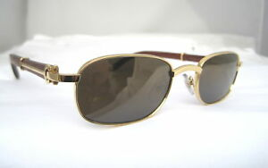 CARTIER GOLD SQUARE SUNGLASSES WOOD NEW- AUTHENTIC