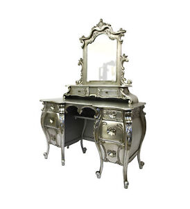 French-Rococo-Dressing-Table-Mirror-Silver-Designer-Interiors-Opulent-bedroom