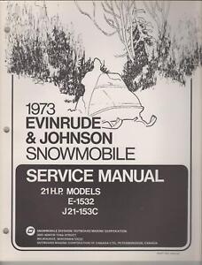 1973 EVINRUDE JOHNSON SNOWMOBILE 21 HP SERVICE MANUAL