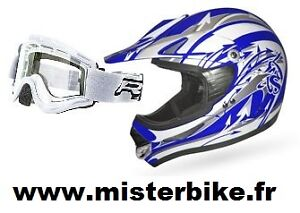 casque cross bleu et blanc taille l homologu lunette masque blanc moto enduro ebay. Black Bedroom Furniture Sets. Home Design Ideas