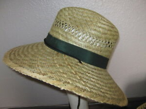 Natural straw safari bucket hat cloth band chin cord for Fishing straw hat