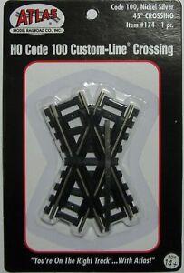 ATLAS 174 HO Scale Code 100 Nickel Silver 45 Degree Crossing