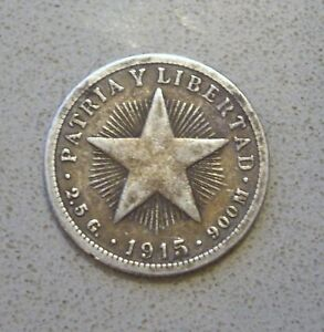 CUBAN-COIN-YEAR-1915-VERY-RARE-SILVER-AUTHENTIC-FIND