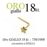 Piercing Da Naso In Oro Giallo Yellow Gold 18kt. Con Stella Liscia With Star -  - ebay.it
