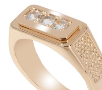 Technibond Men's Cubic Zirconia Ring 14k Gold Silver