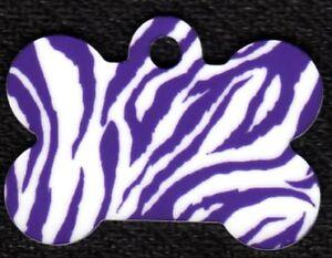 Custom Pet Tag ID Purple Zebra Bone FAST Shipping!