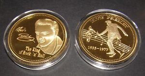 Elvis-Presley-Gold-Rare-King-of-Rock-n-Roll-Music-Souvenir-Collectable-Mint-Coin