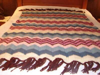 Handcrafted Crochet Knitted Afghan Throw Blanket Complex Pattern Acylic