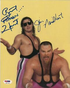 Bret-Hart-Jim-Neidhart-Signed-WWE-8x10-Photo-PSA-DNA-COA-The-Foundation-Autod