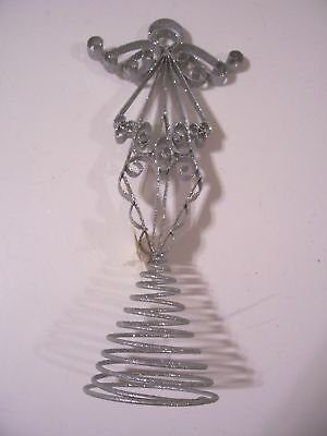 Silver Glitter Angel Tree Topper Christmas Decoration