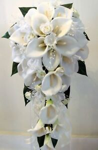 WEDDING-BOUQUET-SET-REAL-TOUCH-CALA-LILY-PEARLS-IVORY