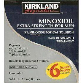 Kirkland Signature Extra Strength 5% Minoxidil Hair Regrowth Treatment for  Men 2 fl  oz  6-Pack
