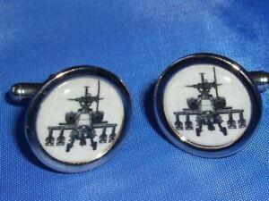 APACHE HELICOPTER NEW CHROME FINISH CUFFLINKS