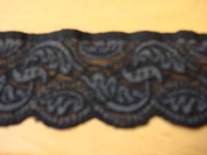 Black & Grey Stretch Lace Trimming 5mts 6.5cm Wide