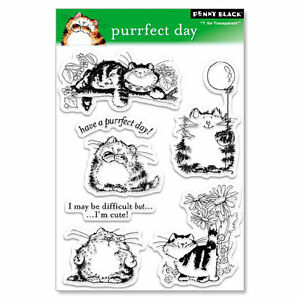 New Penny Black PURRFECT DAY Clear Stamps Cat Kitty Flowers