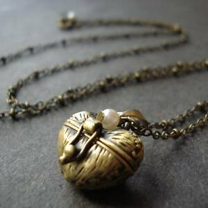Antique-Gold-Heart-PILL-BOX-Locket-LONG-Necklace-Gift