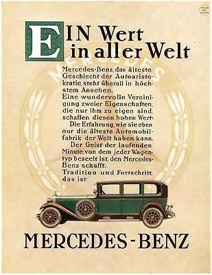 Farb-Plakat: Mercedes-Benz 1930 Oldtimer Reprint, NEU