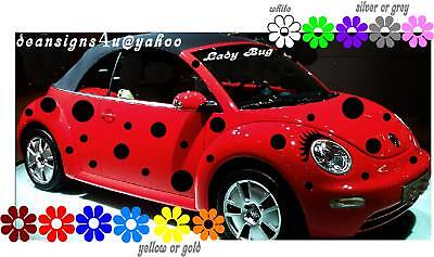 Car Spots Dots 44 Set Ladybug Eyelashes For Volkswagen Bug Vw Beetle Sticker
