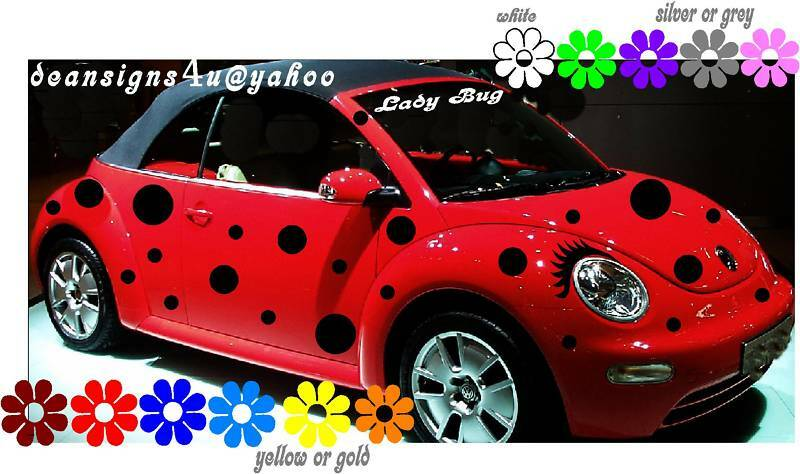 Car Spots Black Dots 44 Set Ladybug Volkswagen Bug Eyelashes Vw Beetle Usa