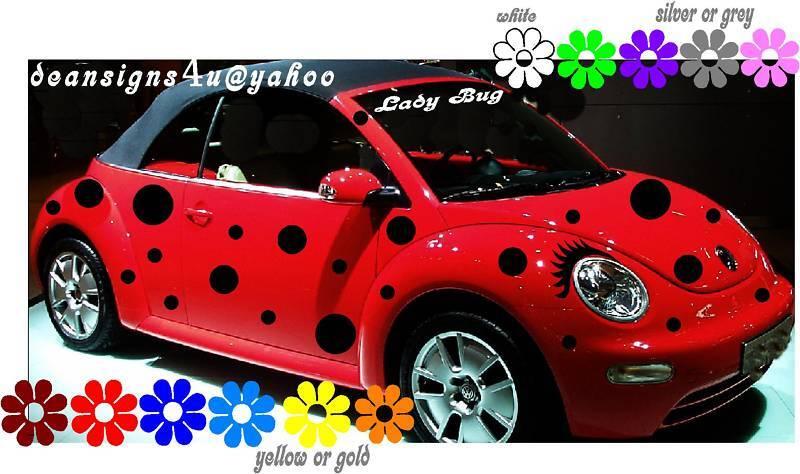 Car Spots Dots 44 Set Ladybug Volkswagen Bug Eyelashes Vw Beetle Sticker