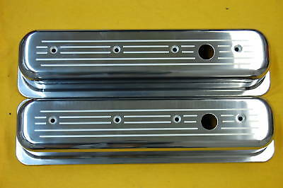 Sbc Tall Valve Covers Ball Milled Aluminum Vortec 350 Small Block Chevy Polished