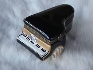 "Grand Piano Trinket Box Porcelain Black & Gold 3.5"" L Great Music Gift NIB"