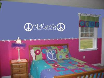 GIRLS NAME & PEACE SIGN DECAL WALL VINYL DECOR STICKER on Rummage