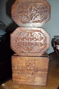 LOT-OF-3-HAND-CARVED-WOODEN-JEWELRY-TRINKET-BOXES-INDIA