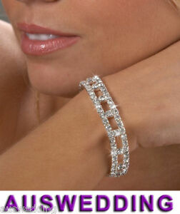 3-Row-Wedding-Bridal-Clear-Crystal-Rhinestone-Bracelet-Silver-Plated