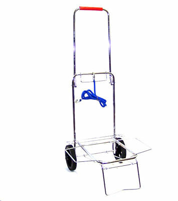 "Chrome Folding Luggage Cart Hand Dolly  5-3/4"" Wheels"