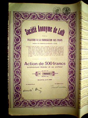 Société Anonyme de Loth,Wool,Belgium 1930 Share certif.