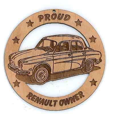 Renault Dauphine Sedan Wood Ornament Engraved