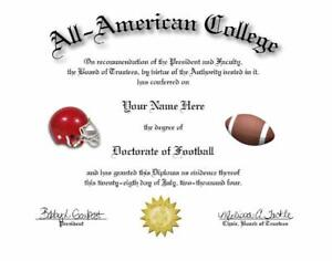 DOCTORATE OF FOOTBALL NOVELTY DIPLOMA! GREAT GIFT!