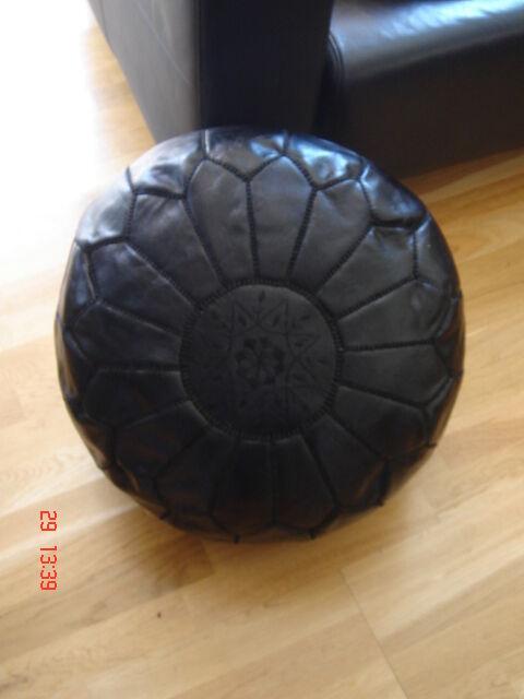 Moroccan Hand Stitched Black Leather Pouffe - Stuffed