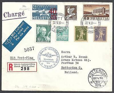 Switzerland-1939-Zst-Airmail-24a-ovpt-HellROT-Europaf
