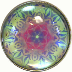 Crystal-Dome-Button-Kaleidoscope-Sea-Green-Pink-1-inch-K-24-FREE-SHIPPING
