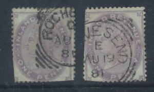 GB-QV-POSTAL-FISCAL-1d-ORB-x-2-USED-ROCHESTER-GRAVESEND