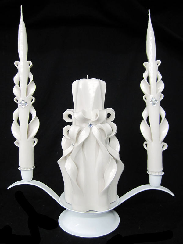 White & crystal CARVED Wedding Unity Candle SET - SALE!