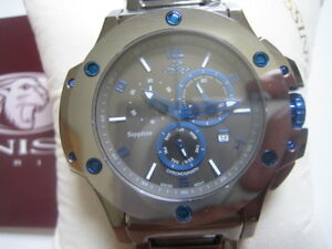 ONISS-MEN-039-S-WATCH-CHRONO-TUNGSTEN-SAPPHIRE-IP-BLUE-ROU-HEAVY-METAL-LIMITED-NEW