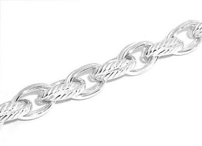Solid-Ribbed-Double-Oval-Link-Bracelet-Real-925-Sterling-Silver