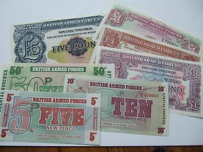7 X  MINT UNUSED MILITARY/ARMED FORCES BANKNOTES, UNCIRCULATED CONDITION.